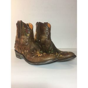 Old Gringo 9.5 Leather Sunflower Western Boots Zip